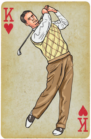 old time: Playing Card, King - Vintage Golfer, an Man. Freehand drawing, vector. Vector is easy editable in layers. Background (card) is also isolated.