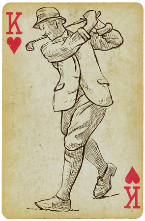 putter: Playing Card, King - Vintage Golfer, an Man. Freehand drawing, vector. Vector is easy editable in layers. Background (card) is also isolated.