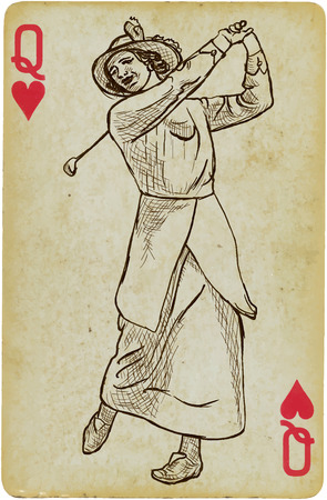 digest: Playing Card, Queen - Vintage Golfer, an Woman. Freehand drawing, vector. Vector is easy editable in layers. Background (card) is also isolated.