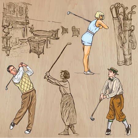 line drawings: VINTAGE and retro GOLF, Golfers and Golf Equipment. Collection of an hand drawn illustrations (line art vectors). Drawings comprises a few layers of lines, background is isolated. Editable in groups. Illustration