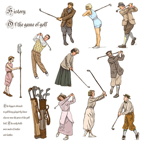 digest: VINTAGE and Retro GOLF, Golfers, Golf impact positions and Golf Equipment. Collection of an hand drawn full sized illustrations (freehand, originals). Drawings on white background.