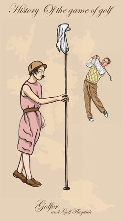 Vintage Golfers, an Man hitting a golf ball straight and an Woman holding a golf flagstick. Freehand drawing, vector. Vector is easy editable in layers. Colored background is isolated.