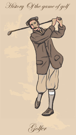 old time: Vintage Golfer, an Man. Freehand drawing, vector. Vector is easy editable in layers. Colored background is isolated.