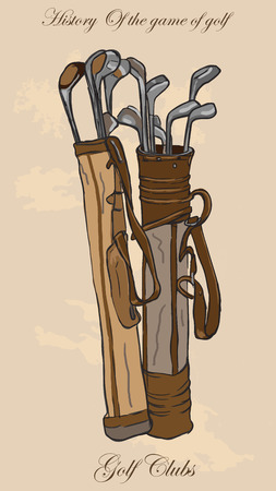 digest: Vintage Golf - Golf Clubs, Bag. Freehand drawing, vector. Vector is easy editable in layers. Colored background is isolated.