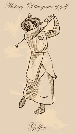 digest: Vintage Golfer, an Woman. Freehand drawing, vector. Vector is easy editable in layers. Colored background is isolated.
