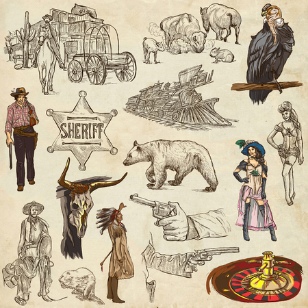 prostitute: INDIANS and WILD WEST - Collection of an hand drawn illustrations. Description: Full sized hand drawn illustrations, original freehand sketches. Drawing on old paper. Stock Photo