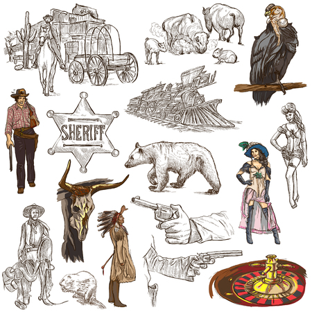 INDIANS and WILD WEST - Collection of an hand drawn illustrations. Description: Full sized hand drawn illustrations, original freehand sketches. Drawing on white background.