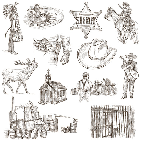 sized: INDIANS and WILD WEST - Collection of an hand drawn illustrations. Description: Full sized hand drawn illustrations, original freehand sketches. Drawing on white background.