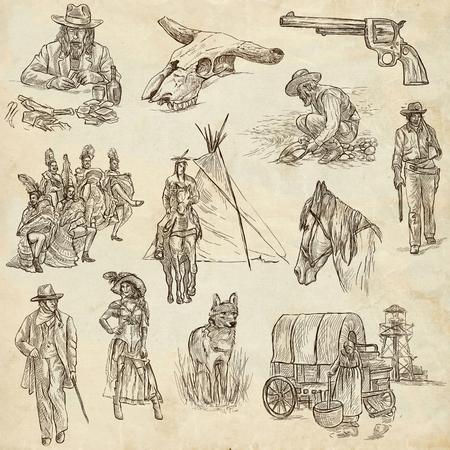 Indianer und Wilder Westen - Erhebung einer Hand gezeichnet Abbildungen. Beschreibung: In voller Größe handgezeichnete Illustrationen ursprünglichen Handskizzen. Zeichnung auf altem Papier.