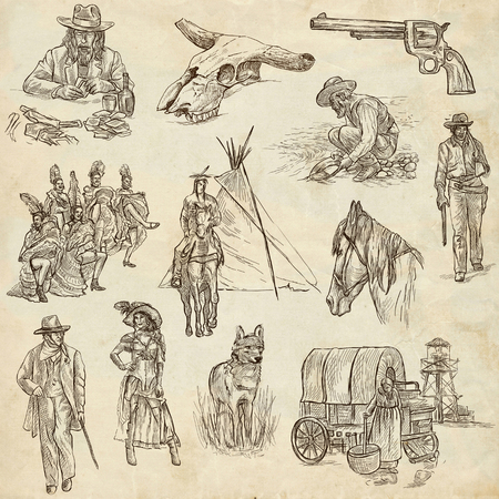 gold rush: INDIANS and WILD WEST - Collection of an hand drawn illustrations. Description: Full sized hand drawn illustrations, original freehand sketches. Drawing on old paper. Stock Photo