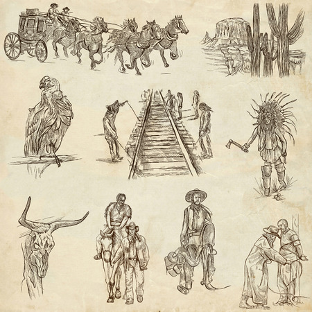 sized: INDIANS and WILD WEST - Collection of an hand drawn illustrations. Description: Full sized hand drawn illustrations, original freehand sketches. Drawing on old paper. Stock Photo