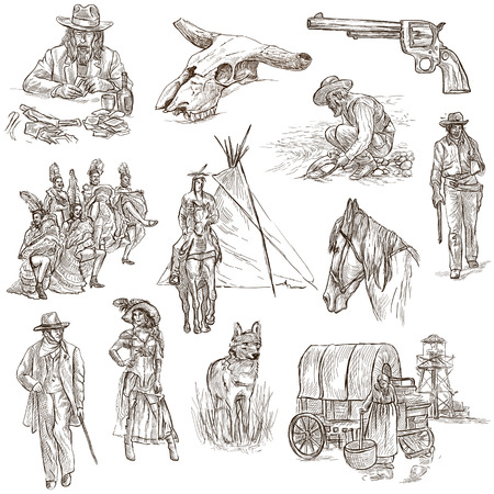 INDIANS and WILD WEST - Collection of an hand drawn illustrations. Description: Full sized hand drawn illustrations, original freehand sketches. Drawing on white background. Reklamní fotografie - 44876381