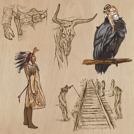 historical: WILD WEST. Collection of an hand drawn vector illustrations. Freehand sketching. Each drawing comprise a few layers of lines. Colored background is isolated. Editable in layers and groups. Illustration
