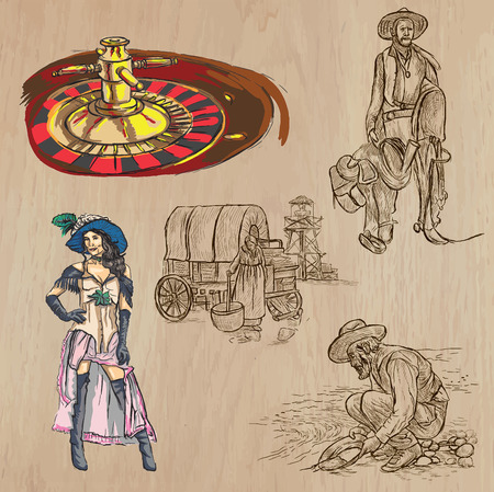 WILD WEST. Collection of an hand drawn vector illustrations. Freehand sketching. Each drawing comprise a few layers of lines. Colored background is isolated. Editable in layers and groups. Vettoriali