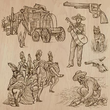 prospector: SALVAJE OESTE. Colección de una dibujados a mano ilustraciones de vectores. Dibujo a mano alzada. Cada dibujo comprenden unas pocas capas de líneas. Color de fondo es aislado. Editables en capas y grupos. Vectores