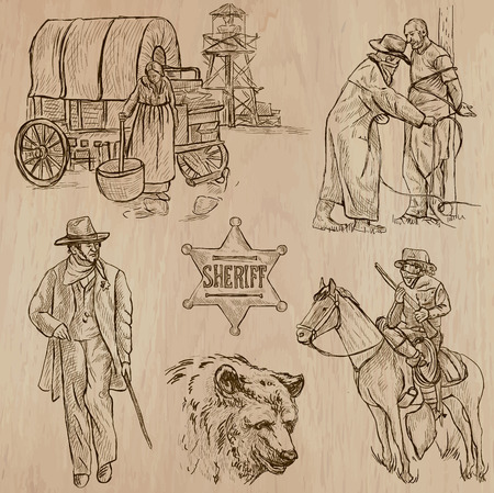 outcast: WILD WEST. Collection of an hand drawn vector illustrations. Freehand sketching. Each drawing comprise a few layers of lines. Colored background is isolated. Editable in layers and groups. Illustration