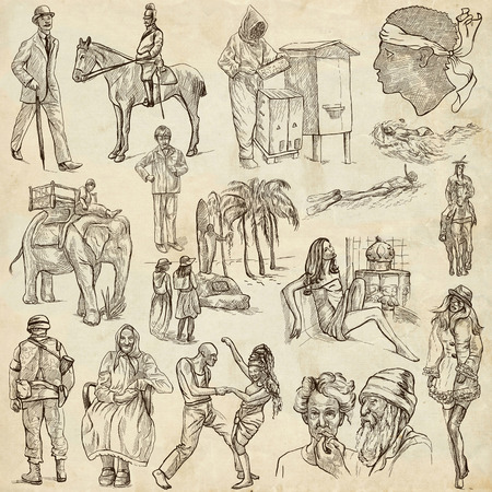 military draft: UNITED COLORS OF HUMAN RACE, People around the World - Collection of an hand drawn illustrations. Description, Full sized hand drawn illustrations, original freehand sketches. Drawing on old paper.