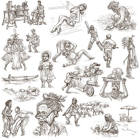 bocetos de personas: UNITED COLORS OF raza humana, Personas de todo el mundo - Colección de una dibujados a mano ilustraciones. Ilustraciones a todo tamaño mano dibujada, dibujos a mano alzada originales. Dibujo sobre fondo blanco. Foto de archivo