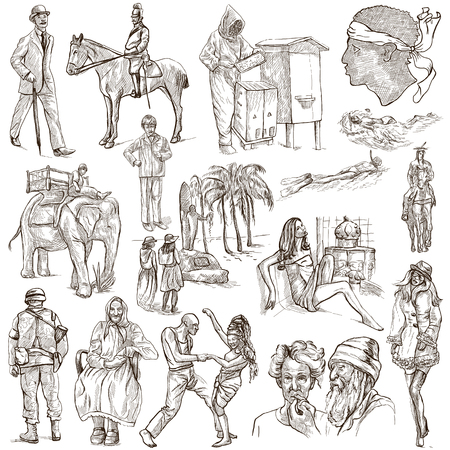 sized: UNITED COLORS OF HUMAN RACE, People around the World - Collection of an hand drawn illustrations. Full sized hand drawn illustrations, original freehand sketches. Drawing on white background.
