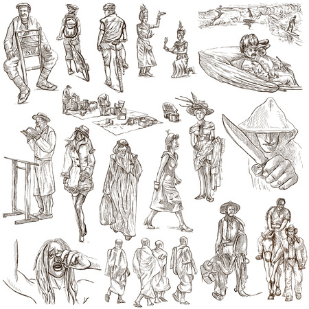 UNITED COLORS OF HUMAN RACE, People around the World - Collection of an hand drawn illustrations. Full sized hand drawn illustrations, original freehand sketches. Drawing on white background.