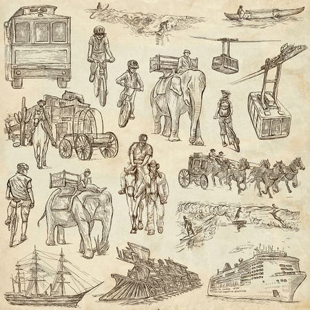 draft: TRANSPORT, Transportation around the World - Collection of an hand drawn illustrations. Description: Full sized hand drawn illustrations, original freehand sketches. Drawing on old paper.