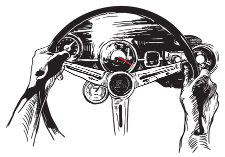 Vanishing Point. The first reason to love USA. An hand drawn vector, Freehand sketch. Muscle car interior - it is not about any particular car interior, logos are devised by author of the illustration