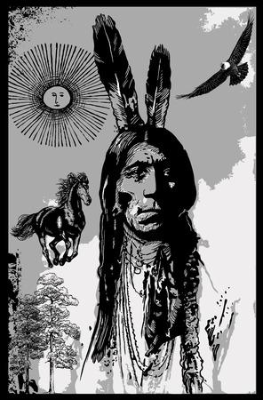 手描きの背景。フリーハンド スケッチ - ポップアート、ポップ カルチャーのテーマ。未知のインディアン戦士、座っている雄牛の肖像画の肖像画。