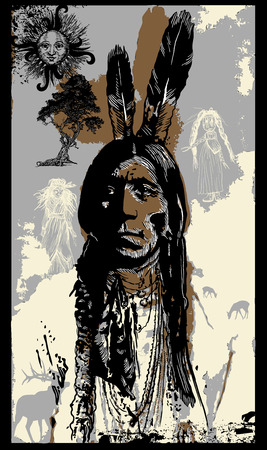 pop culture: An hand drawn vector. Freehand sketch - Pop Art, Pop Culture theme. Portrait of an unknown Indian Warrior, Sitting Bull Portrait. Native American, Chief.