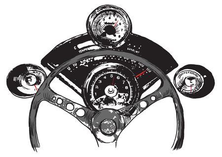 instrument panel: Vanishing Point. The first reason to love USA. An hand drawn vector, Freehand sketch. Muscle car interior - it is not about any particular car interior, logos are devised by author of the illustration