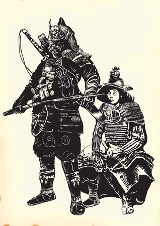 prowess: An hand drawn vector, freehand sketching. Portrait of an unknown Japan warriors, Samurais (Shoguns). Illustration
