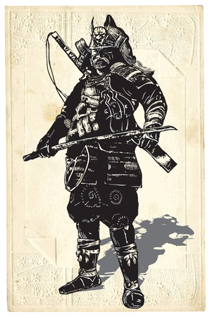 prowess: An hand drawn vector, freehand sketching. Portrait of an unknown Japan warrior, Samurai (Shogun).
