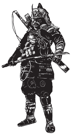 prowess: An hand drawn vector, freehand sketching. Portrait of an unknown Japan warrior, Samurai (Shogun). Isolated on white.
