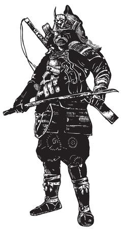 Een hand getekende vector, uit de vrije hand schetsen. Portret van een onbekende Japan krijger Samurai (Shogun). Geïsoleerd op wit.