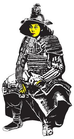 shogun: An hand drawn vector, freehand sketching. Portrait of an unknown Japan warrior, Samurai (Shogun). Isolated on white.