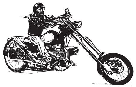彼のチョッパー、黒いライダーのバイク。手描きでベクトルのイラスト漫画と落書き (ストリート アート) スタイルで。