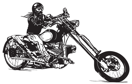 comix: An Biker on his Chopper, Black rider. An hand drawn vector illustration in the comic and graffiti (street art) style.