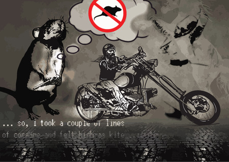comix: Felt high as  Kite. An Biker on the freedom trip. An hand drawn vector illustration in the comic and graffiti (street art) style. The foreground of image is sharp, background is blurred, art plan.