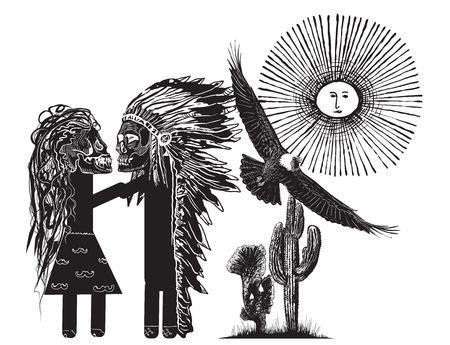 innamorati che si baciano: Il bacio. Disegno a mano libera - Amanti di Monster. Un capo indiano donna indiana baciare. Una illustrazione vettoriale disegnata a mano l'arte e stile comico. Variante bianco.