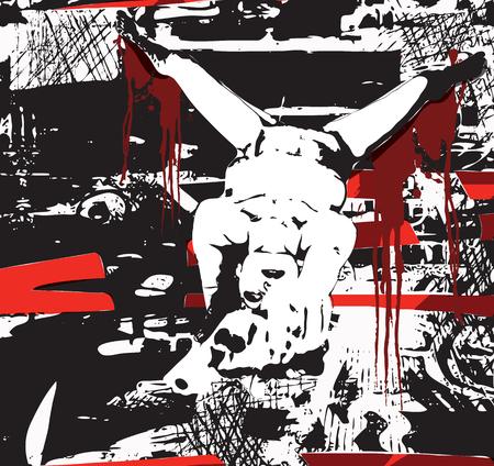 La ragazza con la pistola. Disegno a mano libera. Una illustrazione vettoriale disegnata a mano in stile fumetto. Archivio Fotografico - 47214991