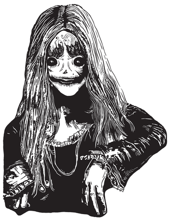 white coat: Zombie Girl, Poltergeist. An hand drawn vector illustration, freehand sketch in comic style. Illustration
