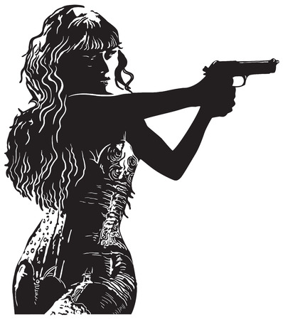 An Girl with the Revolver, Black Shooter. An hand drawn vector illustration, freehand sketch in comic style. Vettoriali