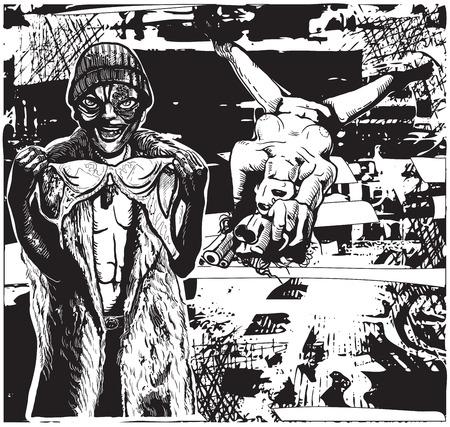 mujer con arma: Chica con el arma y su amante Ugly (ladr�n de sujetadores). Dibujo vectorial Freehand. Una ilustraci�n vectorial dibujado a mano en el estilo c�mico.