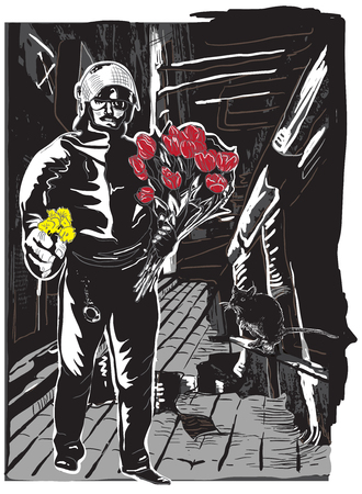 military draft: Policeman, Cop with flowers in his hands. Gentle Hero and Little Rat on the Night Street. An hand drawn vector illustration, Freehand drawing, no tracing. Vector drawing in a classical comic style. Illustration