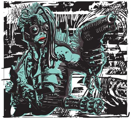 pistola: Monstruo, criatura, con las armas. Una ilustración vectorial de dibujado a mano, Dibujo a mano alzada, sin trazado. Dibujo vectorial en un estilo cómico clásico. Vectores
