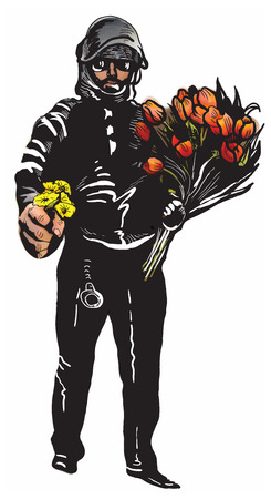 comix: Policeman, Cop with flowers in his hands. Gentle Hero. An hand drawn vector illustration, Freehand drawing, no tracing. Vector drawing in a classical comic style.