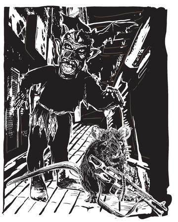 rata: Undead, Zombie y Rata con el Tommy en la calle de noche. Una ilustración vectorial de dibujado a mano, Dibujo a mano alzada, sin trazado. Dibujo vectorial en un estilo cómico clásico. Vectores
