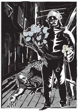 ghastly: Policeman with flowers in his hands. Gentle Hero and An Undead, Zombie on the Night Street. An hand drawn vector illustration, Freehand drawing, no tracing. Vector drawing in a classical comic style. Illustration