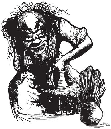 creador: Un dibujado a mano ilustraci�n vectorial, a pulso, en estilo c�mico. Un Potter feo, Creador o payaso de trabajo.