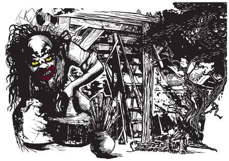 An hand drawn vector illustration, freehand, in comic style. An Ugly Potter, Creator or Clown works in the middle strange place, ruins or ghetto.