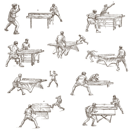 sized: TABLE TENNIS  . Collection of an hand drawn illustrations. Description - Full sized hand drawn illustrations, freehand sketches, drawing on white background. Stock Photo